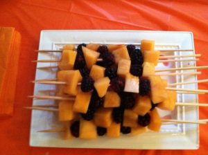 Cantaloupe and blackberry kabobs